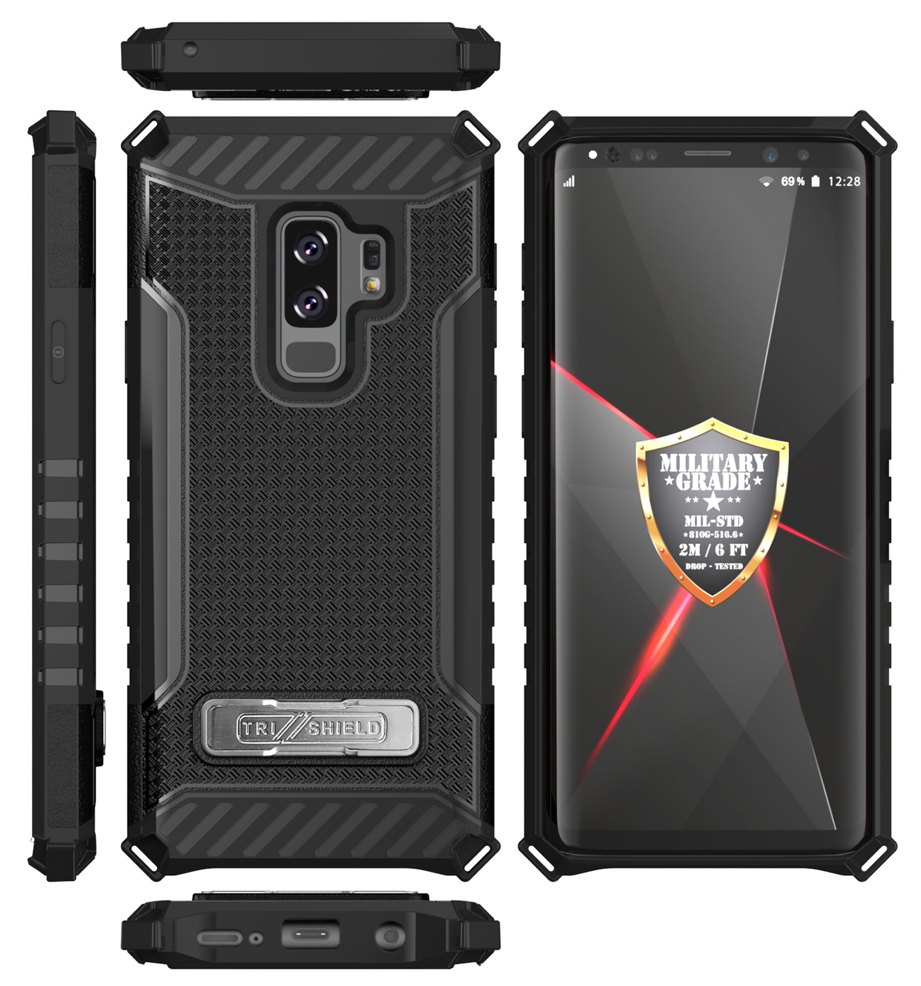 brand new f9c86 0d773 Details about TRI-SHIELD RUGGED CASE COVER STAND LANYARD STRAP FOR SAMSUNG  GALAXY S9 PLUS, S9+