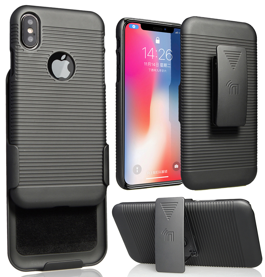 BLACK-RUBBERIZED-HARD-CASE-COVER-BELT-CLIP-HOLSTER-w-STAND-FOR-APPLE-iPHONE
