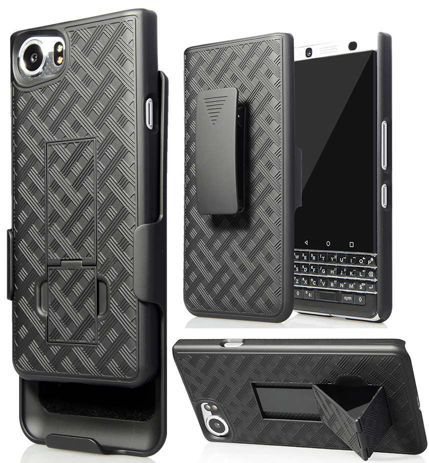 online store e05ed 39220 Details about Black Kickstand Case Cover + Belt Clip Holster Combo for  BlackBerry KEYone