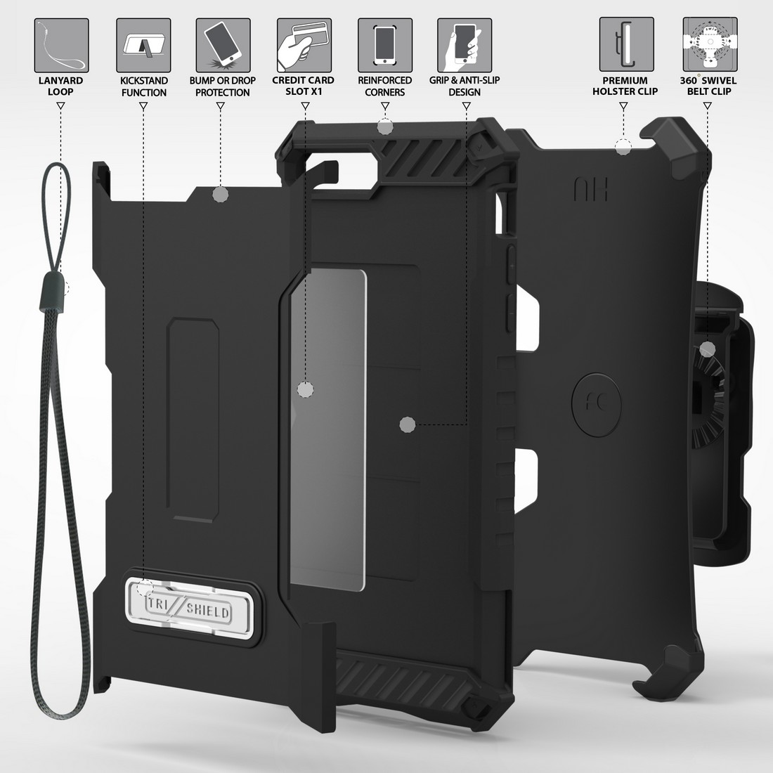 thumbnail 4 - TRI-SHIELD RUGGED CASE STAND CARD SLOT COVER + STRAP + BELT CLIP FOR iPHONE 8/7