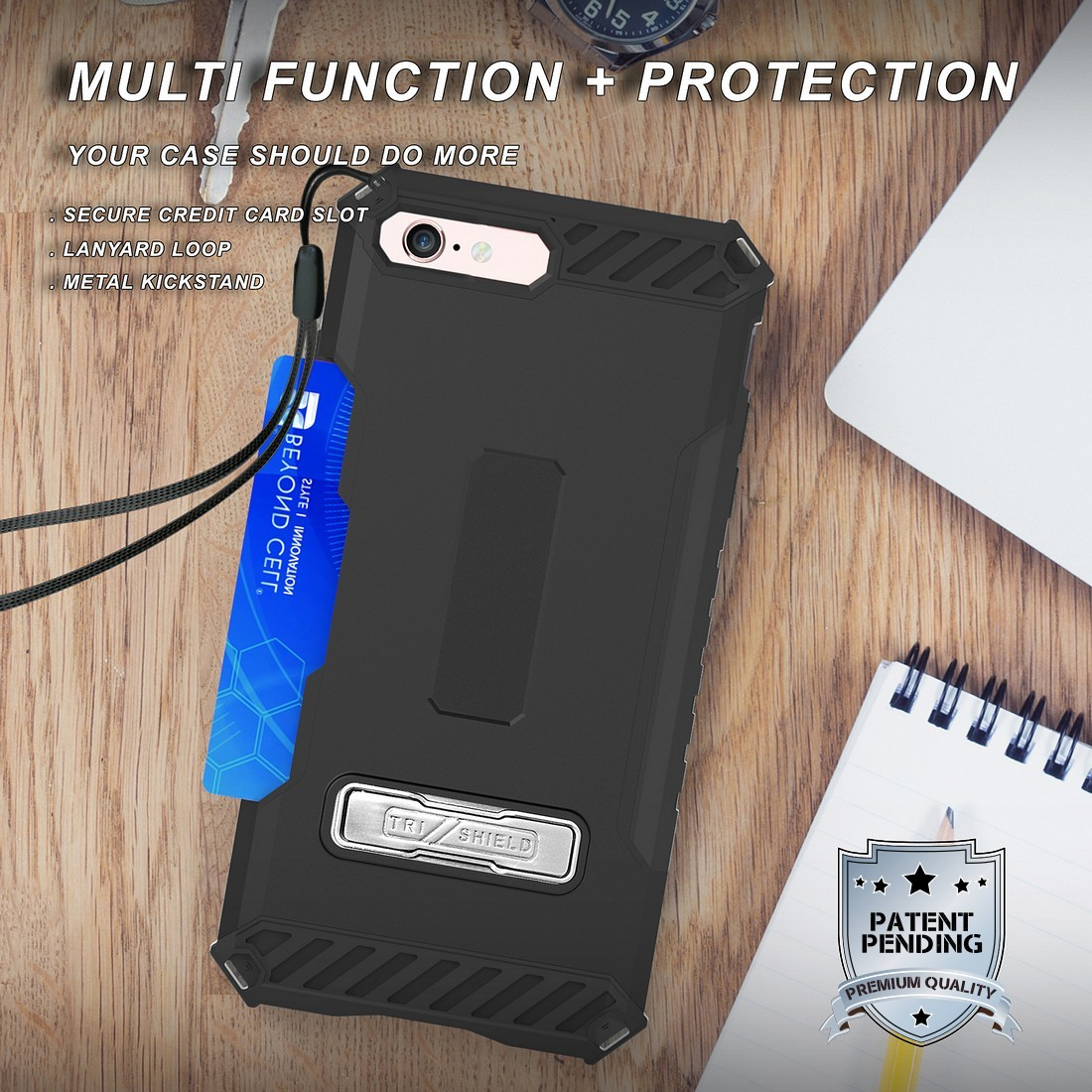 thumbnail 5 - TRI-SHIELD RUGGED CASE STAND CARD SLOT COVER + STRAP + BELT CLIP FOR iPHONE 8/7