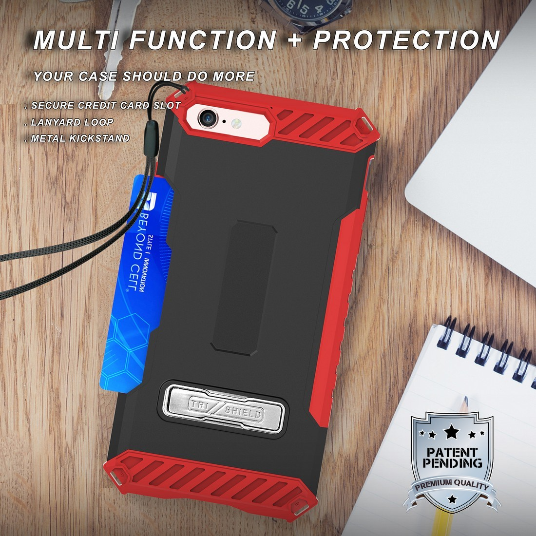 thumbnail 17 - TRI-SHIELD RUGGED CASE STAND CARD SLOT COVER + STRAP + BELT CLIP FOR iPHONE 8/7