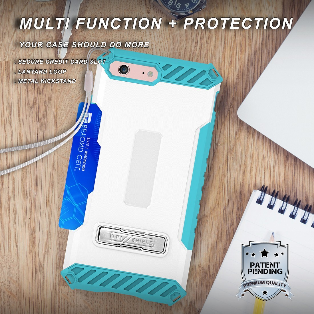 thumbnail 47 - TRI-SHIELD RUGGED CASE STAND CARD SLOT COVER + STRAP + BELT CLIP FOR iPHONE 8/7
