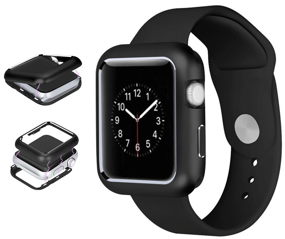 pick up 38edd 62cd1 Details about Black Magnetic Snap Case Aluminum Hard Cover for Apple Watch  (Series 4, 40mm)