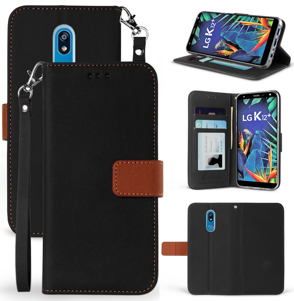 thumbnail 3 - Durable Secure Wallet Case Credit Card Slot Cover Strap for LG Harmony 3 LMX420