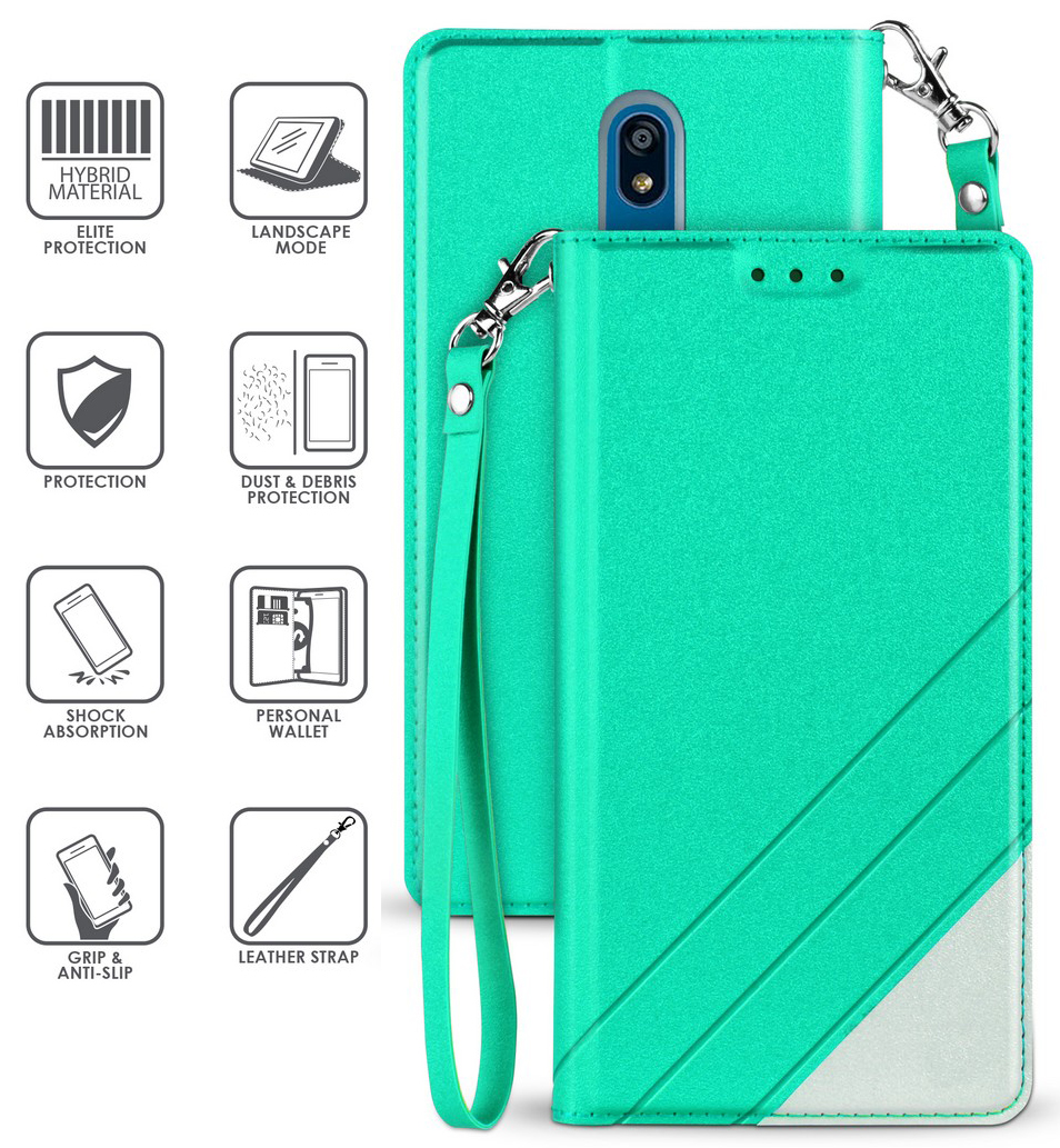 thumbnail 10 - Infolio Wallet Case Stand Card Slot Cover Wrist Strap for LG Xpression Plus 2