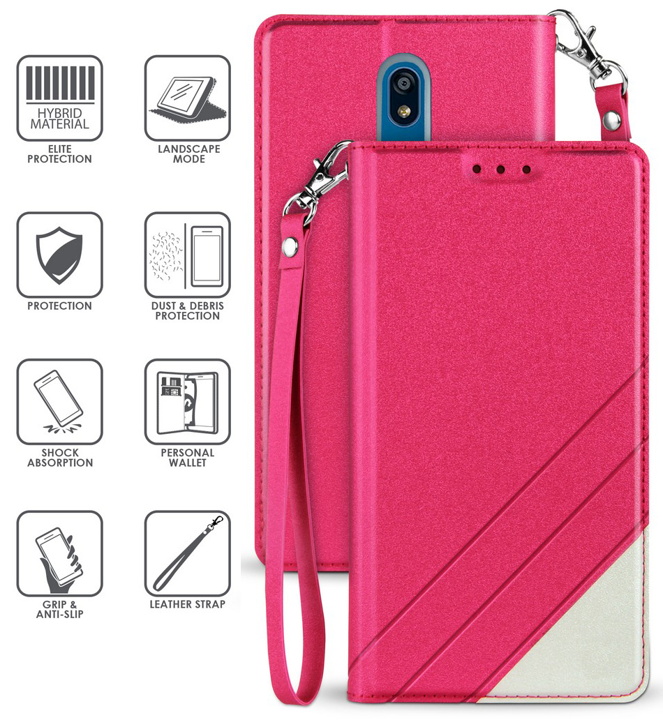 thumbnail 16 - Infolio Wallet Case Stand Card Slot Cover Wrist Strap for LG Xpression Plus 2