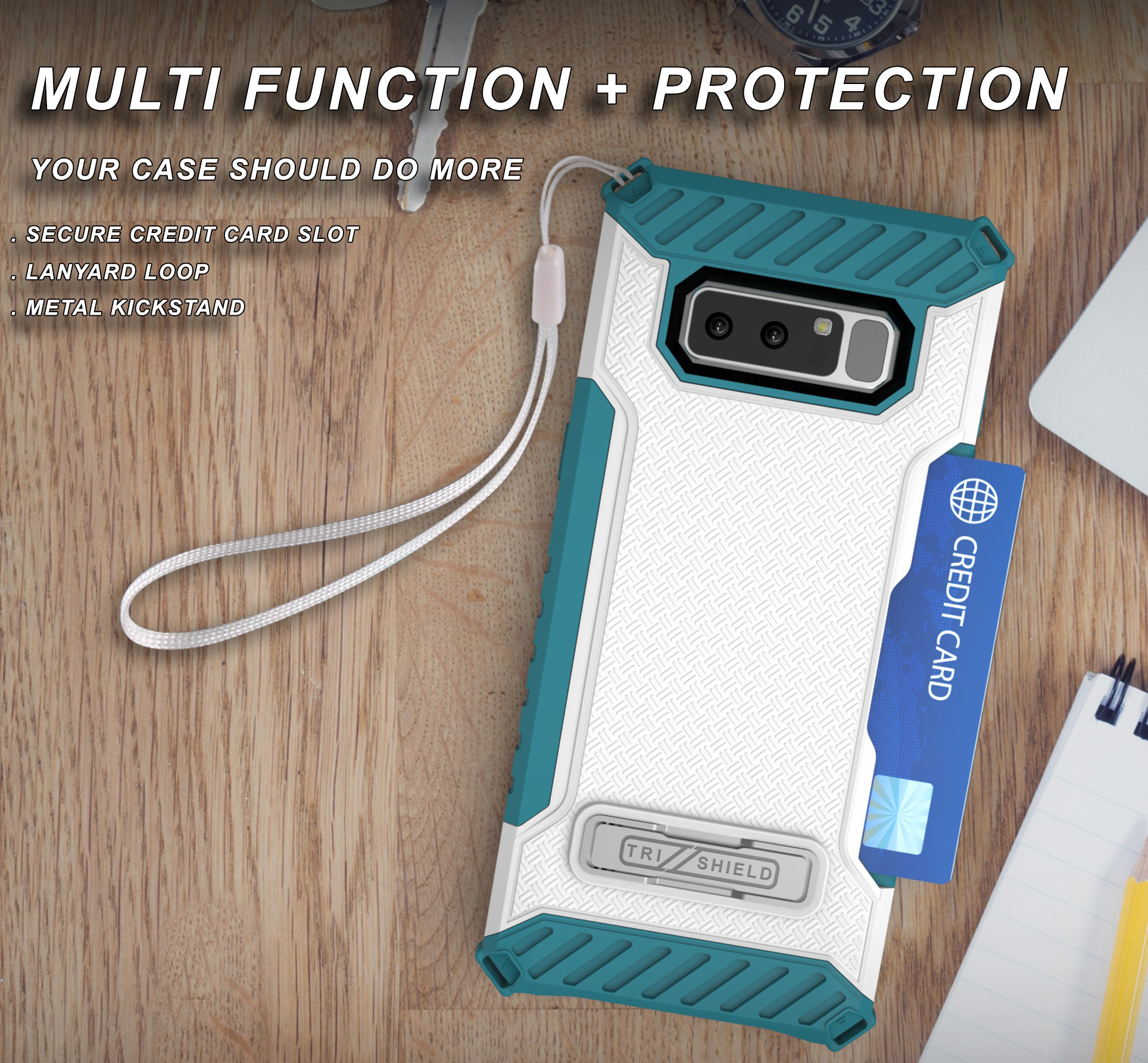 huge discount d7a9b dad35 Details about TRI-SHIELD RUGGED CASE KICKSTAND CARD SLOT LANYARD FOR  SAMSUNG GALAXY NOTE 8