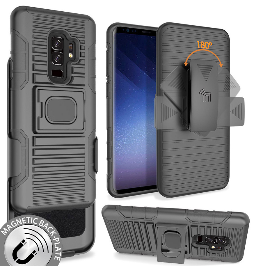 brand new 30fdb dee08 Details about Black Magnet Grip Case + Belt Clip Holster Stand for Samsung  Galaxy S9 Plus, S9+