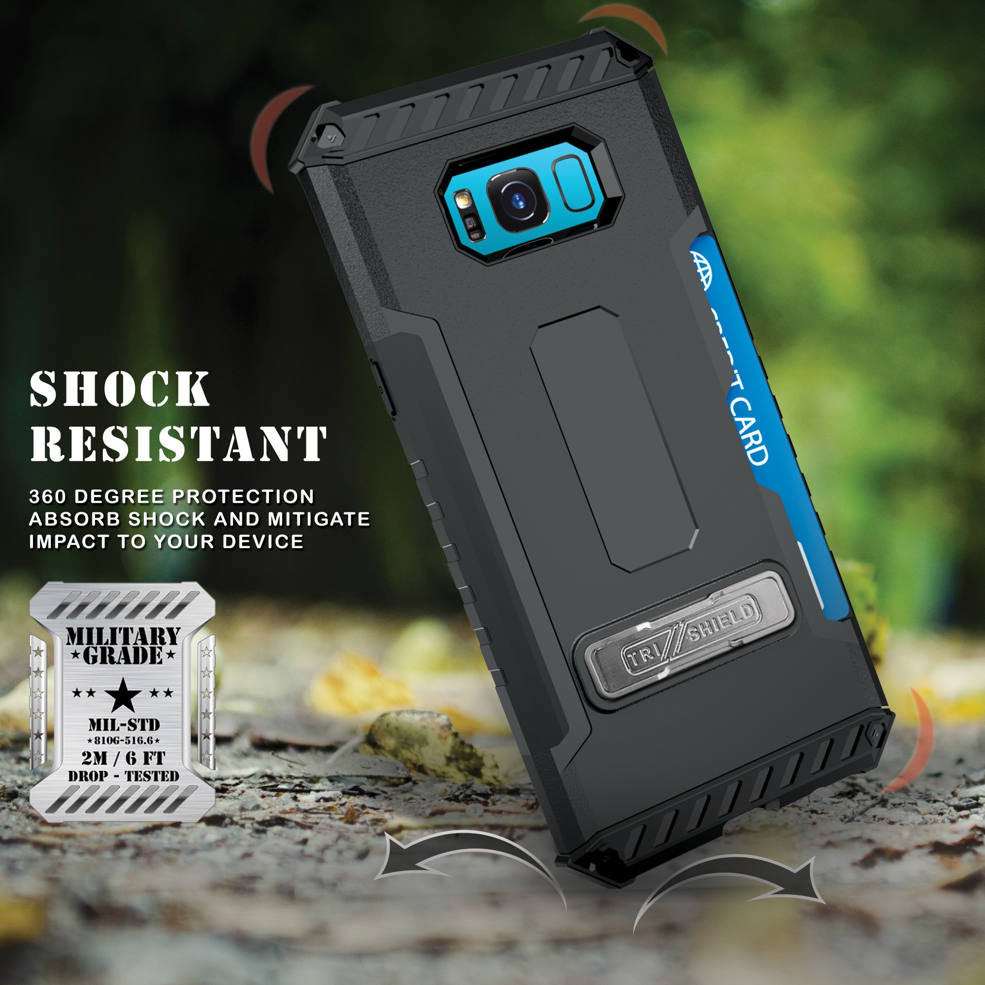 cheaper 97277 fee7e Details about TRI-SHIELD CASE KICKSTAND CARD SLOT LANYARD FOR SAMSUNG  GALAXY S8 PLUS, S8+