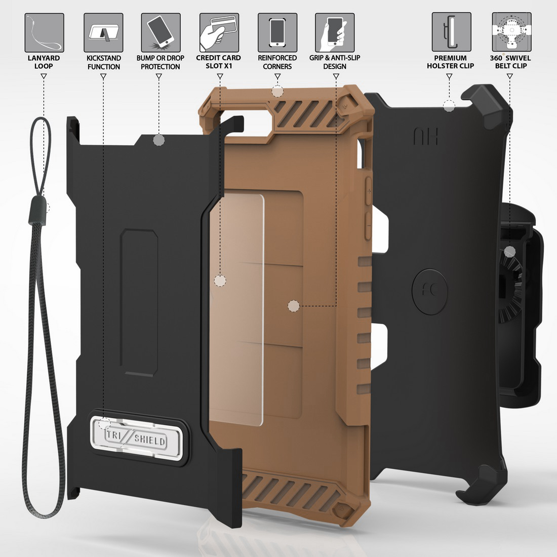 thumbnail 13 - TRI-SHIELD RUGGED CASE STAND CARD SLOT COVER + STRAP + BELT CLIP FOR iPHONE 8/7