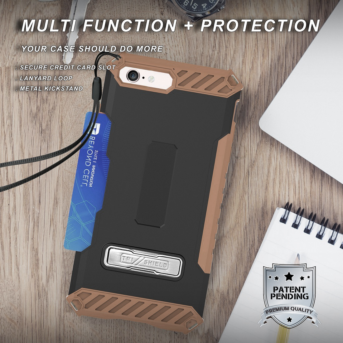 thumbnail 11 - TRI-SHIELD RUGGED CASE STAND CARD SLOT COVER + STRAP + BELT CLIP FOR iPHONE 8/7