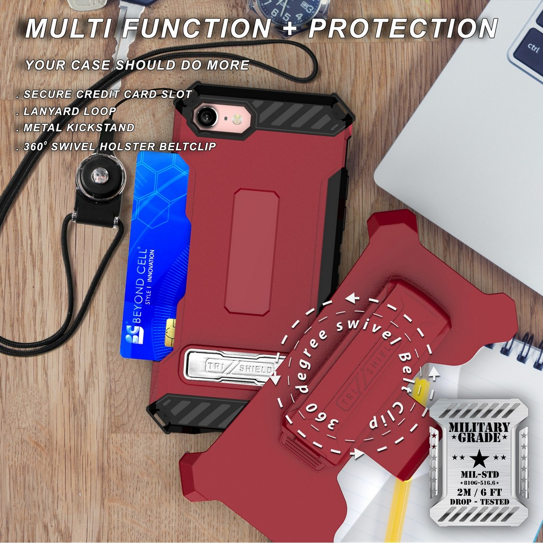 thumbnail 23 - TRI-SHIELD RUGGED CASE STAND CARD SLOT COVER + STRAP + BELT CLIP FOR iPHONE 8/7