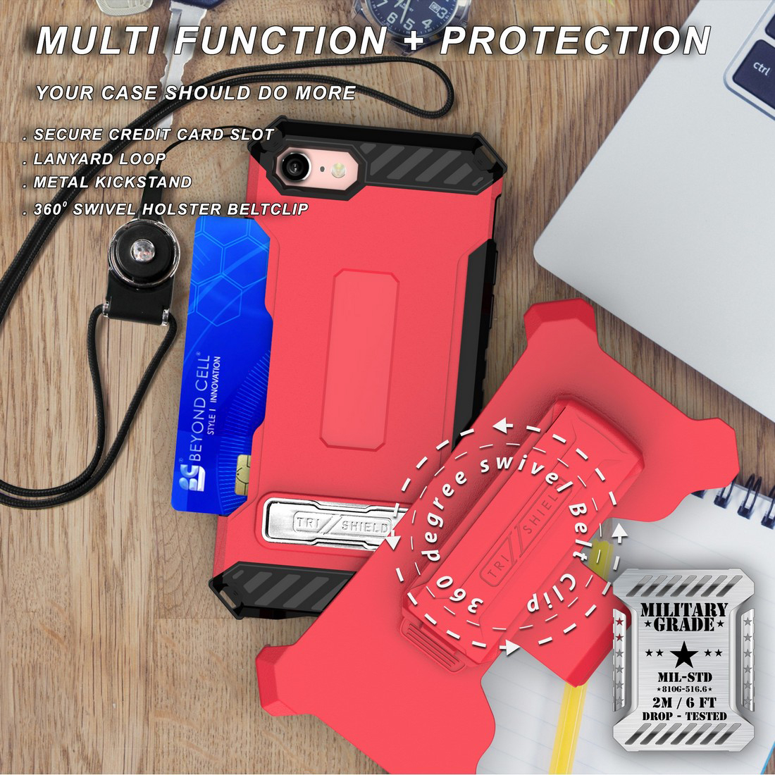 thumbnail 29 - TRI-SHIELD RUGGED CASE STAND CARD SLOT COVER + STRAP + BELT CLIP FOR iPHONE 8/7