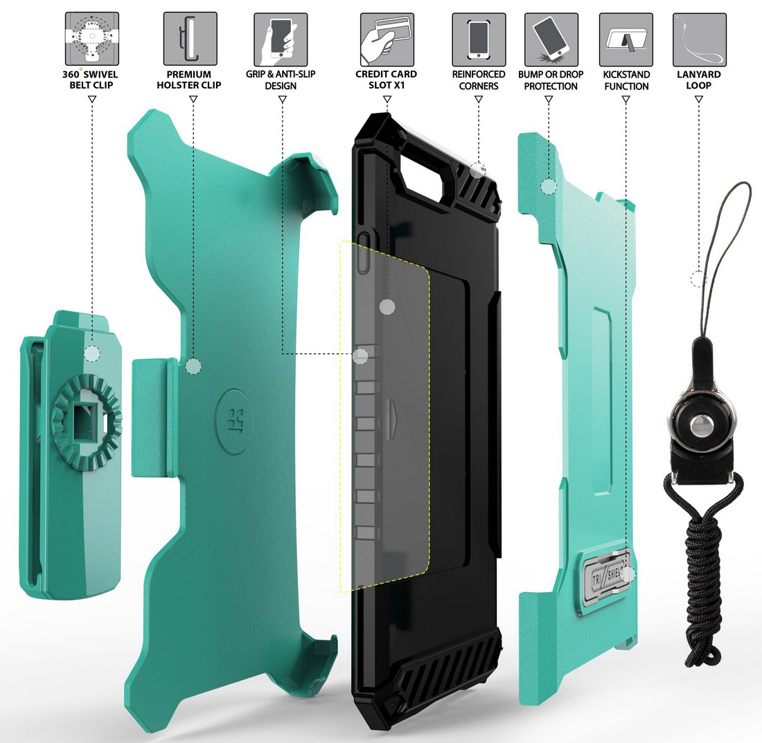 thumbnail 37 - TRI-SHIELD RUGGED CASE STAND CARD SLOT COVER + STRAP + BELT CLIP FOR iPHONE 8/7