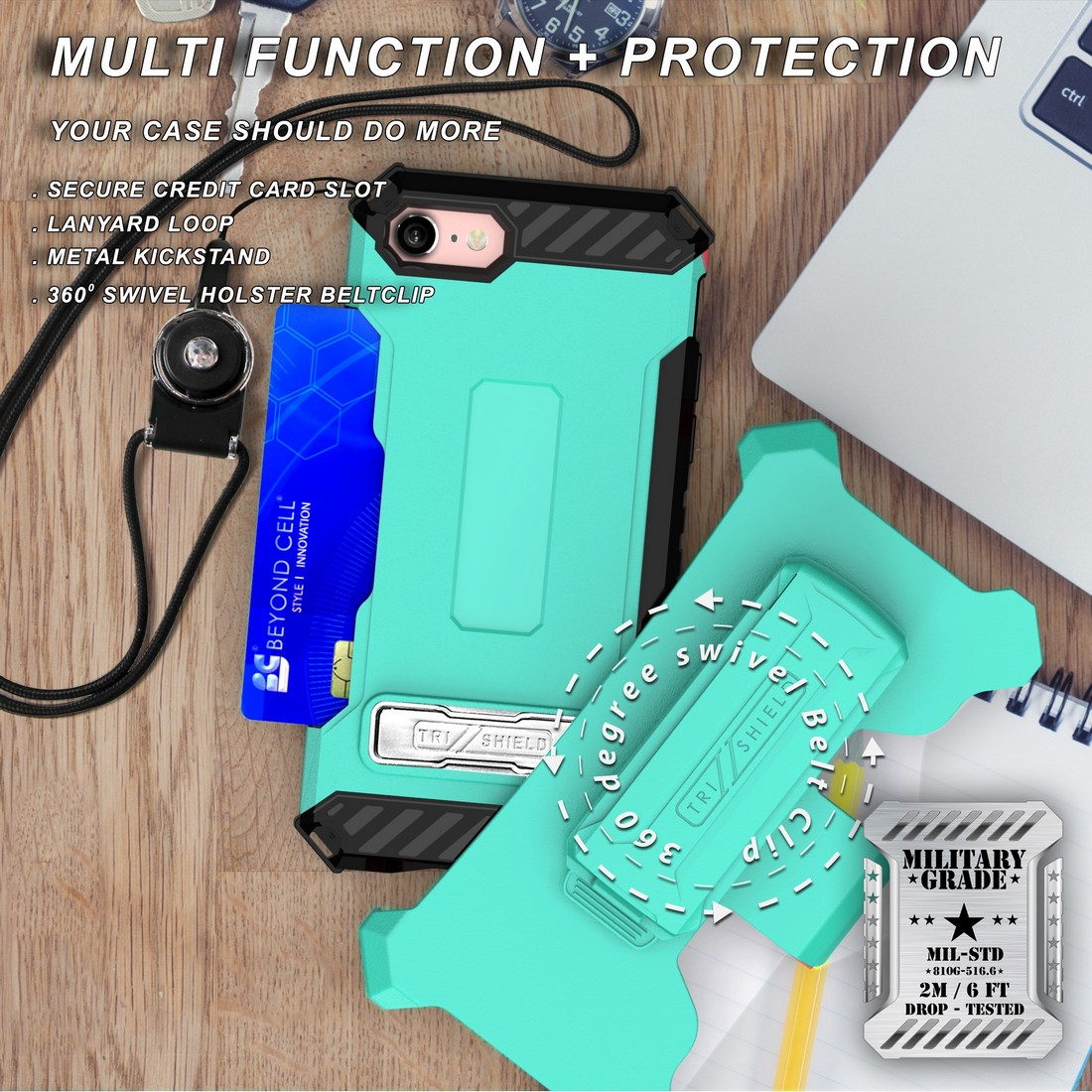 thumbnail 35 - TRI-SHIELD RUGGED CASE STAND CARD SLOT COVER + STRAP + BELT CLIP FOR iPHONE 8/7