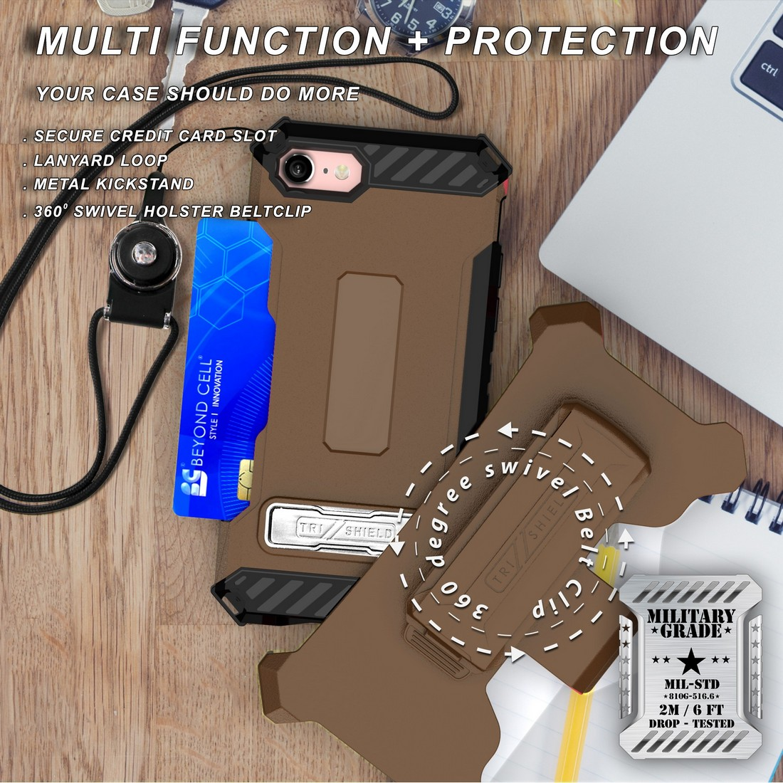 thumbnail 41 - TRI-SHIELD RUGGED CASE STAND CARD SLOT COVER + STRAP + BELT CLIP FOR iPHONE 8/7