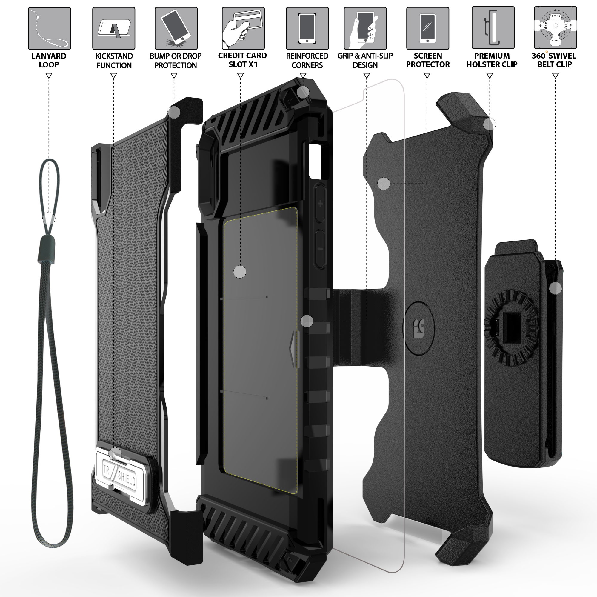 thumbnail 6 - TRI-SHIELD RUGGED CASE STAND CARD SLOT + BELT CLIP HOLSTER FOR APPLE iPHONE X 10