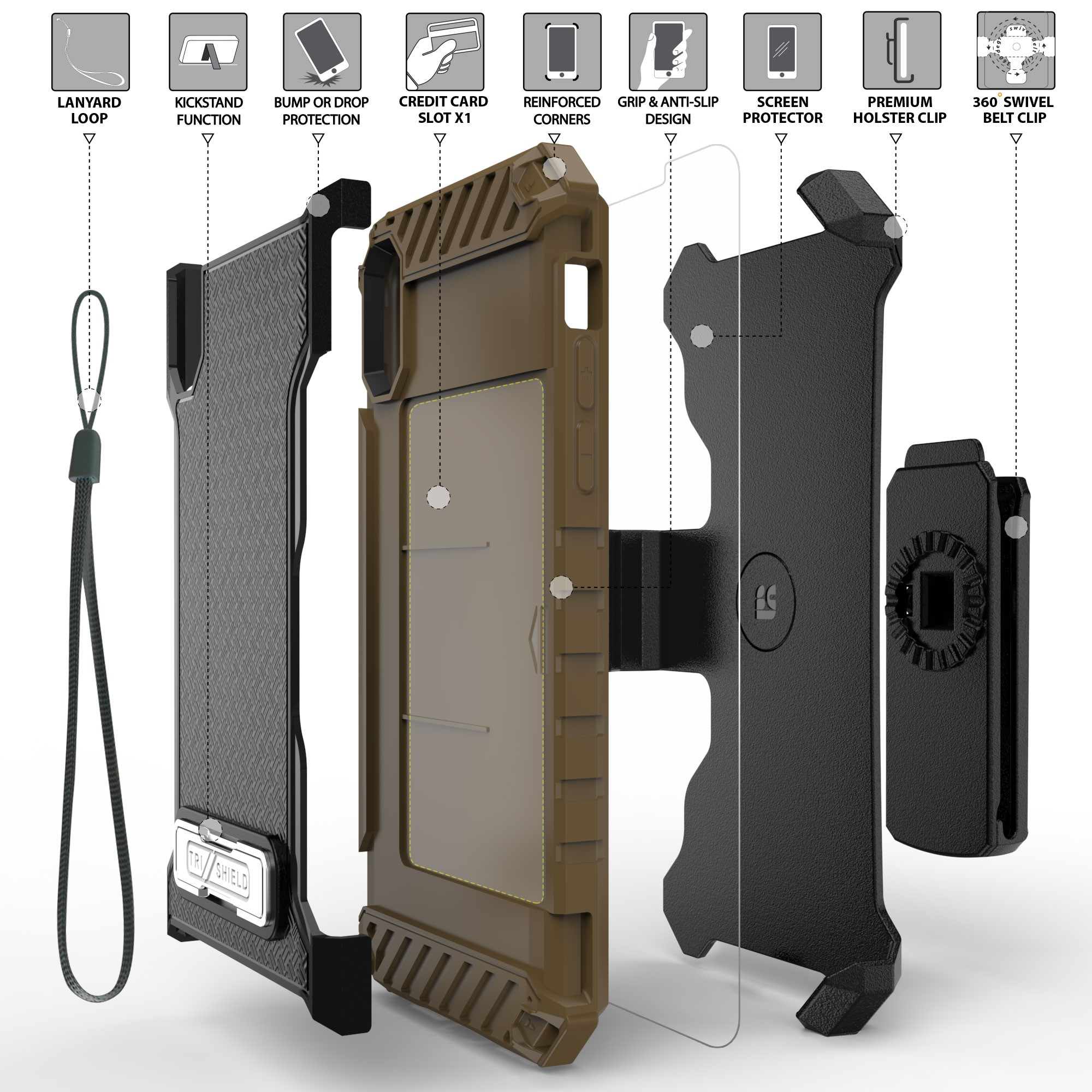 thumbnail 12 - TRI-SHIELD RUGGED CASE STAND CARD SLOT + BELT CLIP HOLSTER FOR APPLE iPHONE X 10