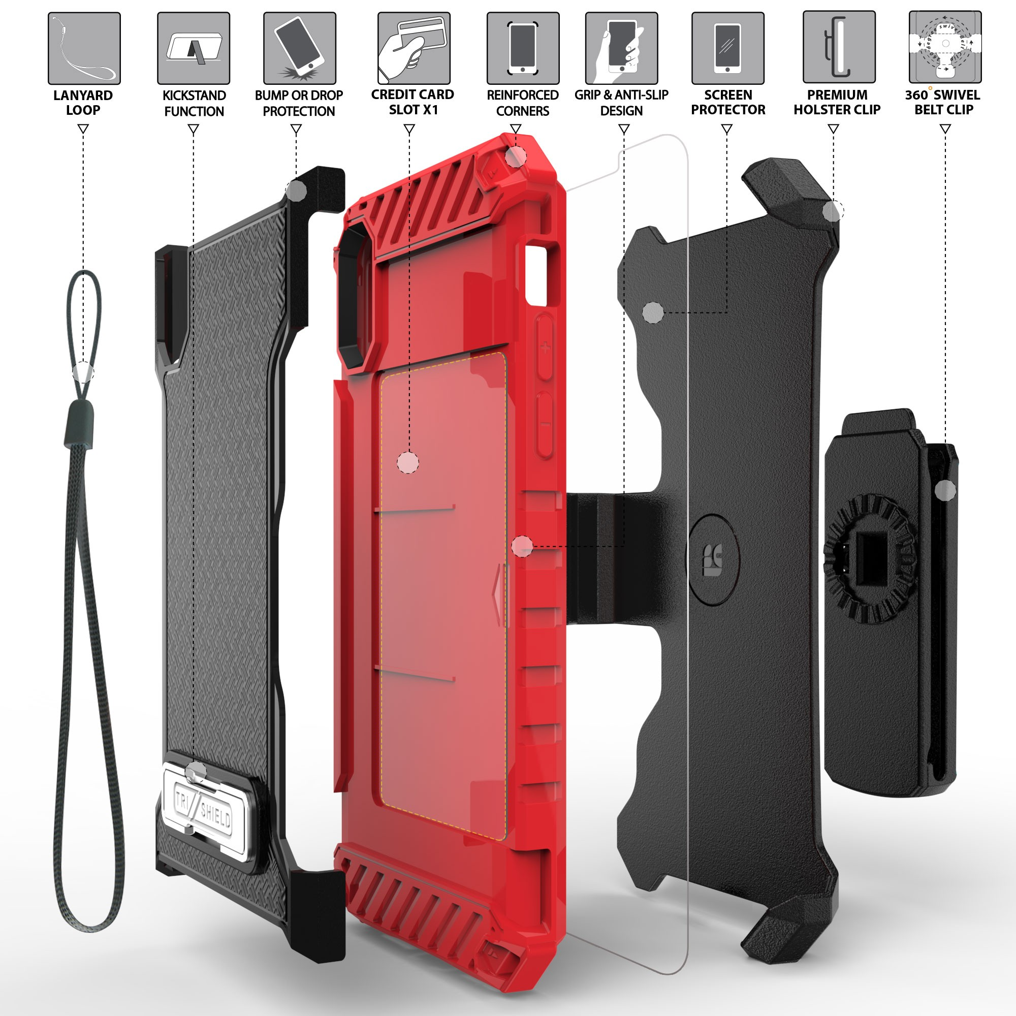 thumbnail 18 - TRI-SHIELD RUGGED CASE STAND CARD SLOT + BELT CLIP HOLSTER FOR APPLE iPHONE X 10