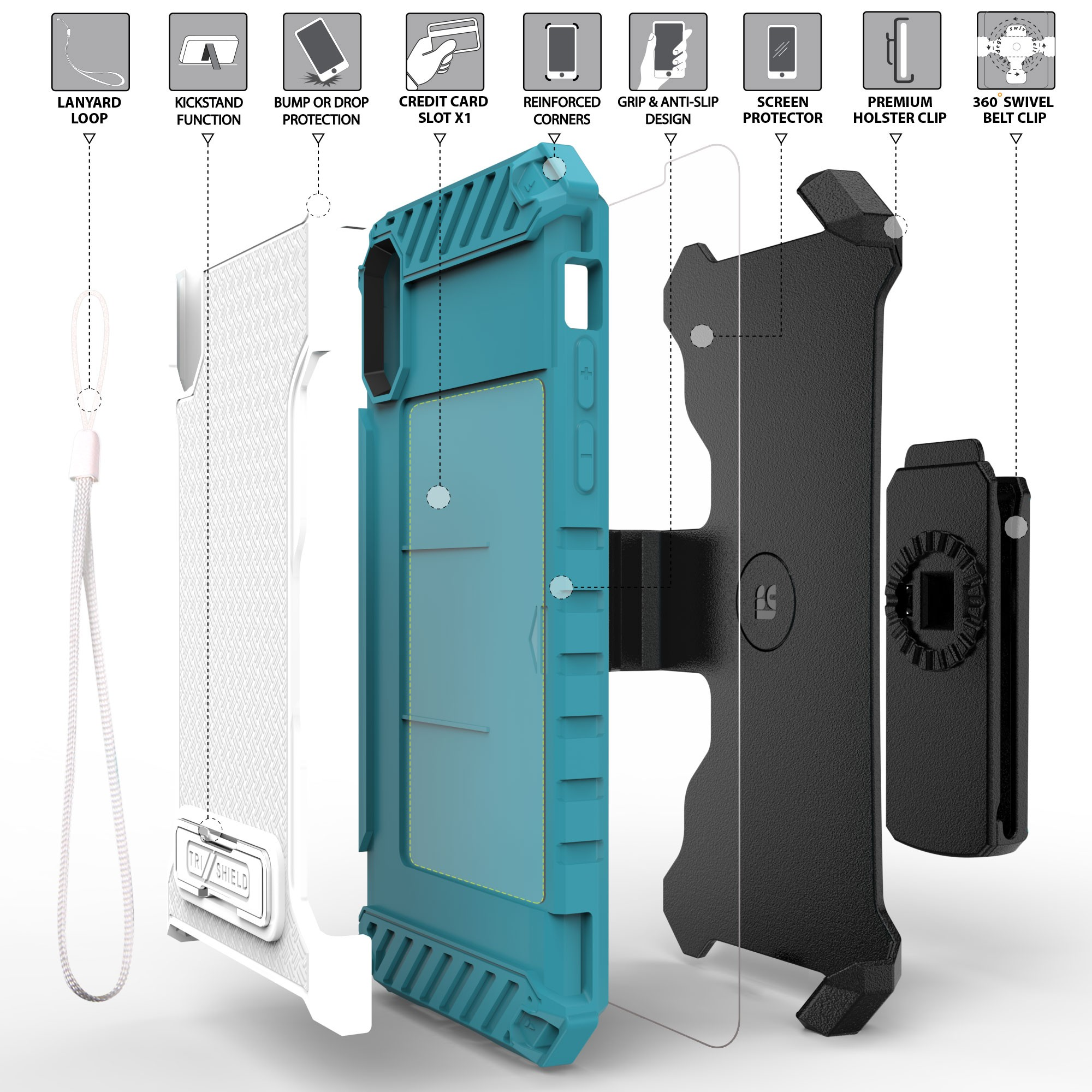 thumbnail 24 - TRI-SHIELD RUGGED CASE STAND CARD SLOT + BELT CLIP HOLSTER FOR APPLE iPHONE X 10