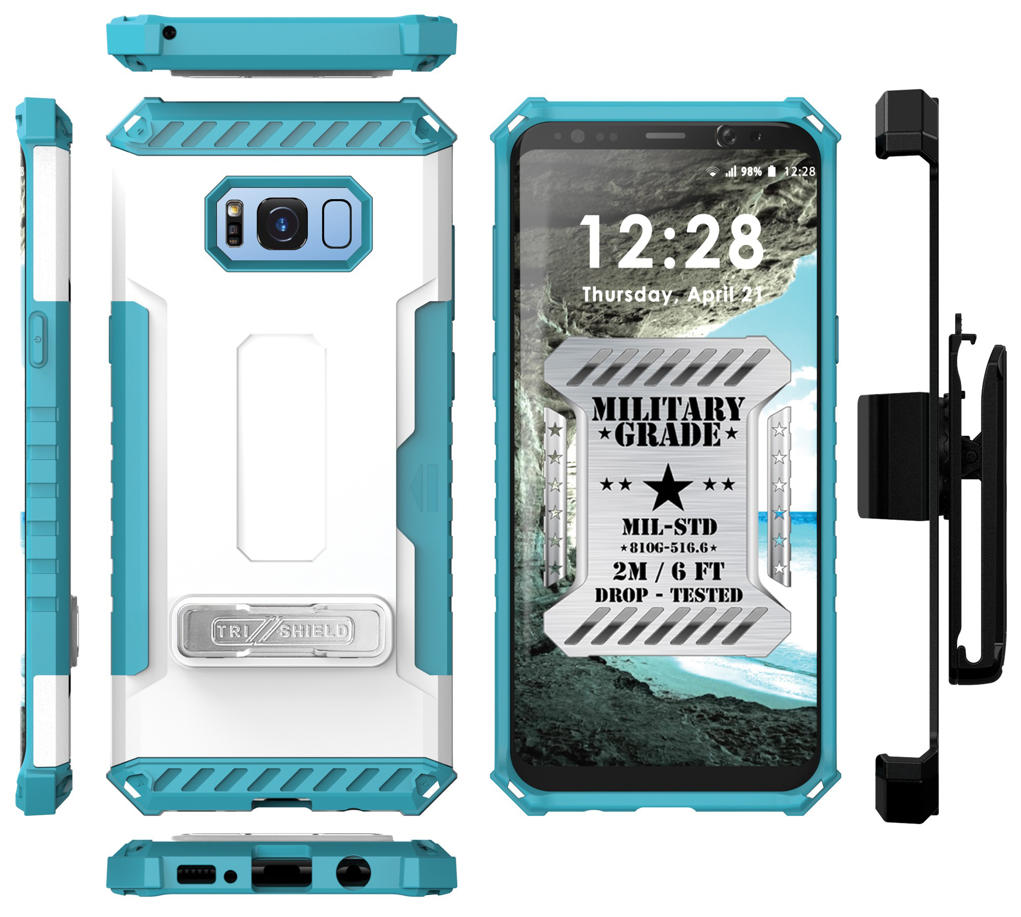 the best attitude ba738 7dc77 Details about TRI-SHIELD CASE STAND STRAP + BELT CLIP HOLSTER FOR SAMSUNG  GALAXY S8 PLUS, S8+