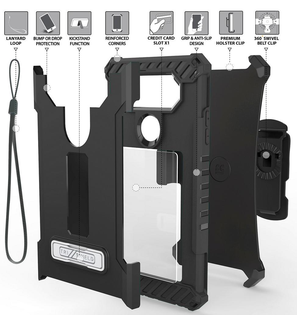 Details about TRI-SHIELD CASE with MAGNETIC KICKSTAND + BELT CLIP HOLSTER +  STRAP FOR LG V20