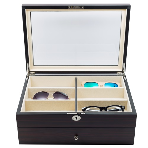 12 wood drawer eyeglass sunglass oversized storage