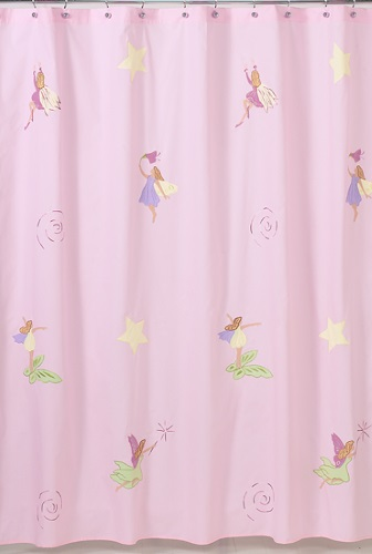 Fairy Tale Pink Yellow Girl Baby Bath Fabric Shower Curtain Sweet