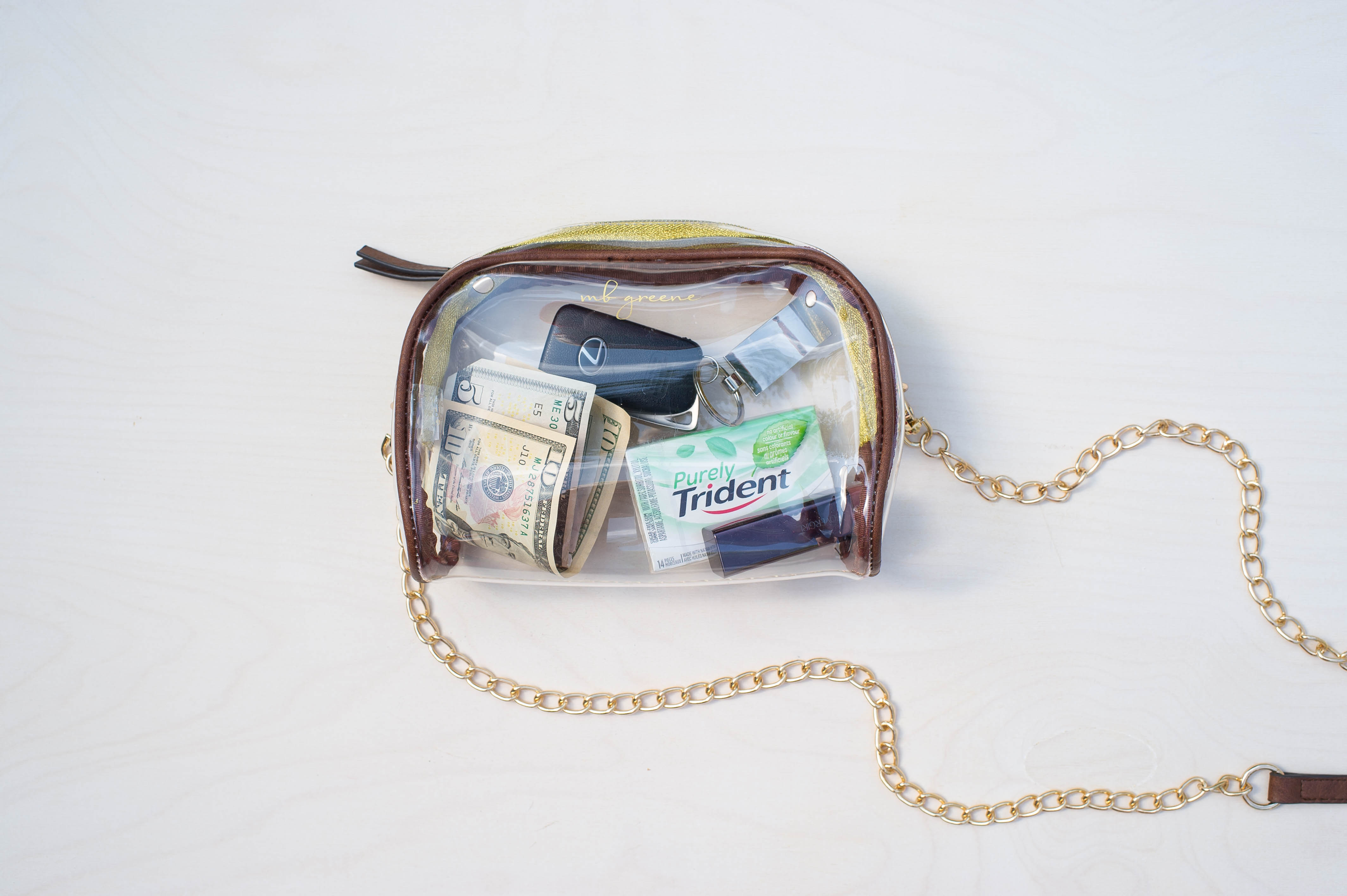 b741cd6e48 MB Greene Clear Stadium Approved Large Purse Crossbody Bag Chain Sporting  Events