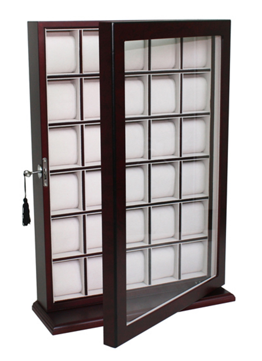 30 WATCH CHERRY WOOD DISPLAY WALL CASE STAND ROSEWOOD ...