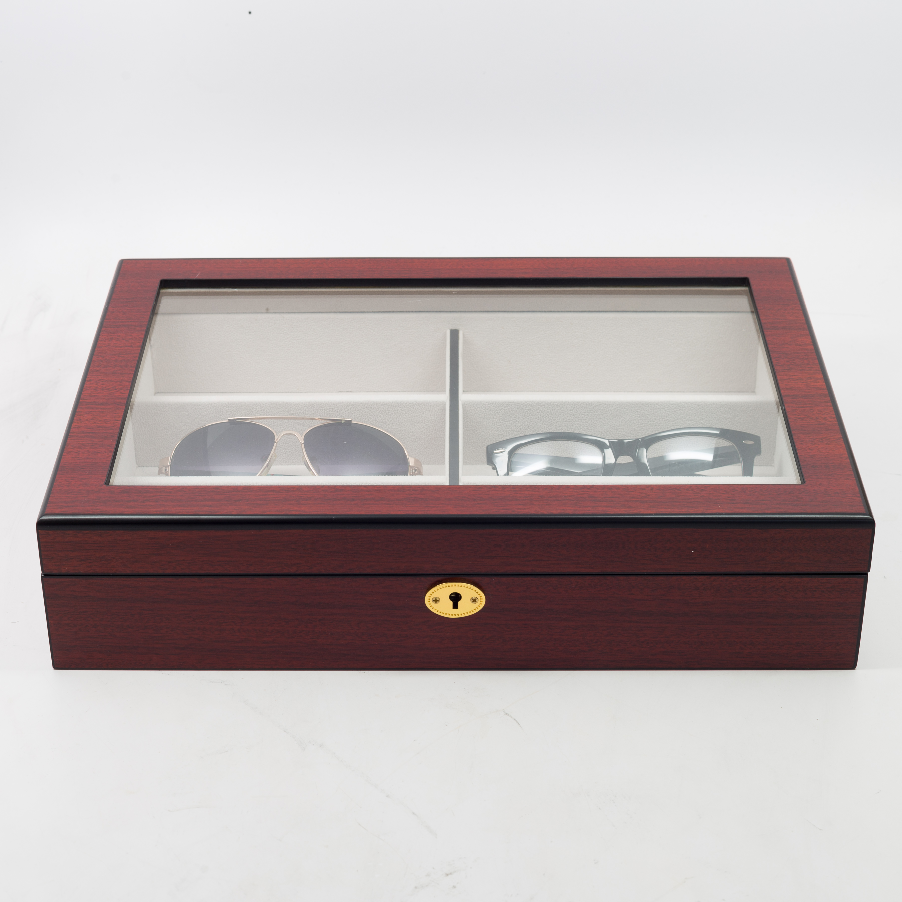 48999a94193 Details about 6 CHERRY WOOD EYEGLASS SUNGLASS OVERSIZED GLASSES STORAGE  DISPLAY CASE ORGANIZER