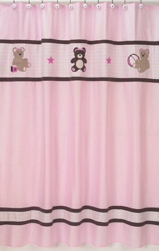 Shower Curtains Pink And Brown.Teddy Bear Pink Brown Kids Girl Bath Fabric Shower Curtain Sweet