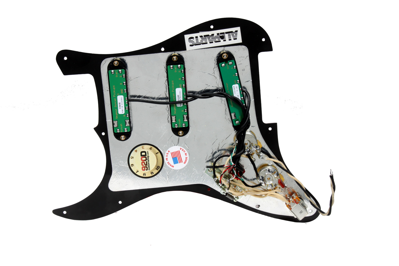 seymour duncan everything axe loaded strat pickguard w. Black Bedroom Furniture Sets. Home Design Ideas