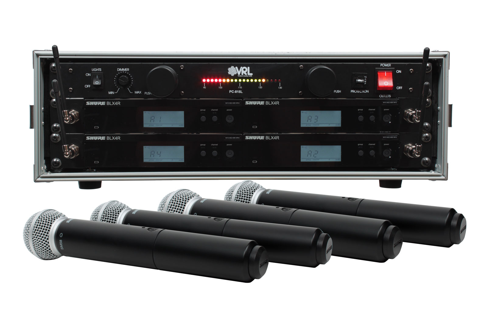 shure blx24r sm58 4 pack wireless handheld mic system with vrl power supply. Black Bedroom Furniture Sets. Home Design Ideas