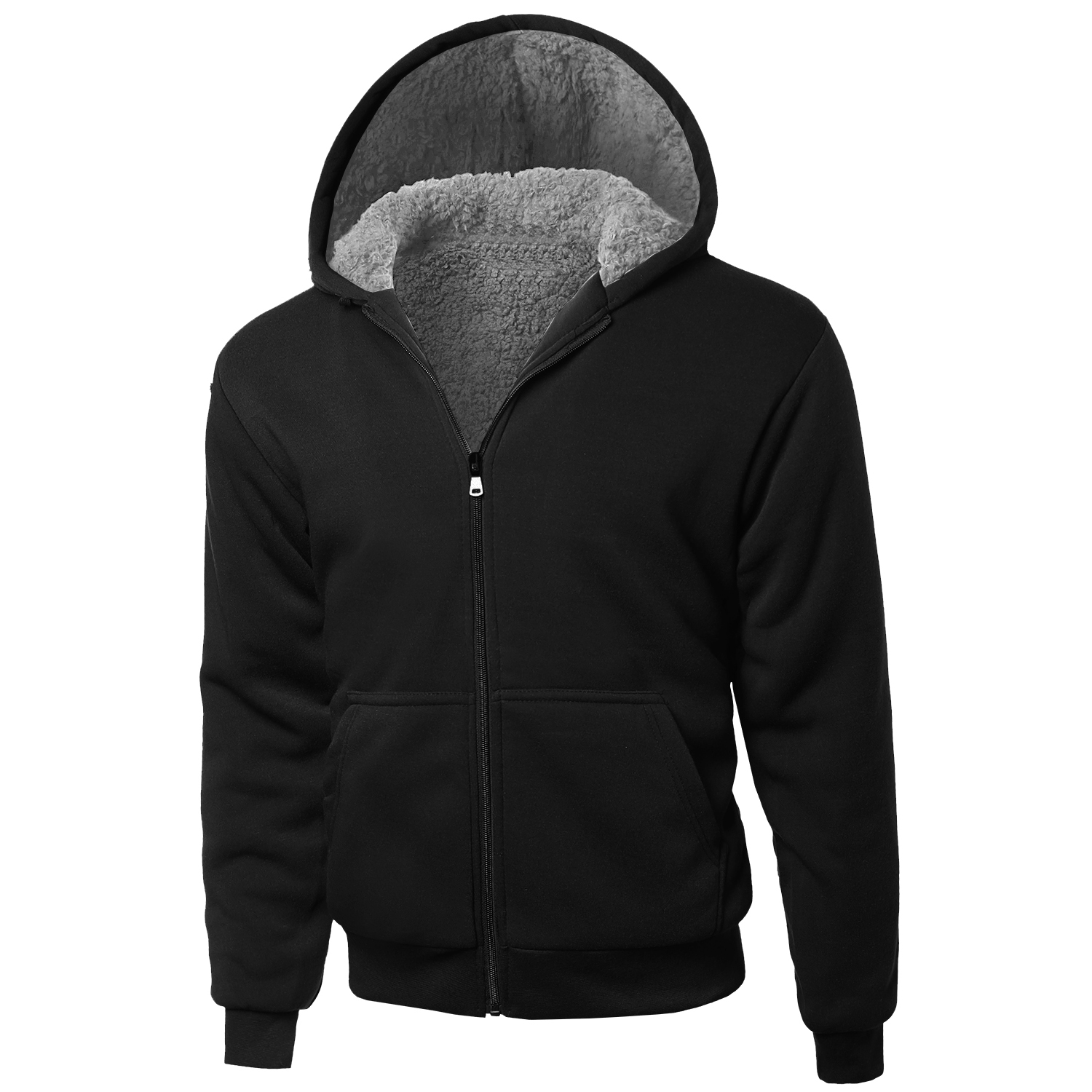 Details about Men's Hoodie Zip Up Jacket Sherpa Lined Fleece & Quilted Sleeves