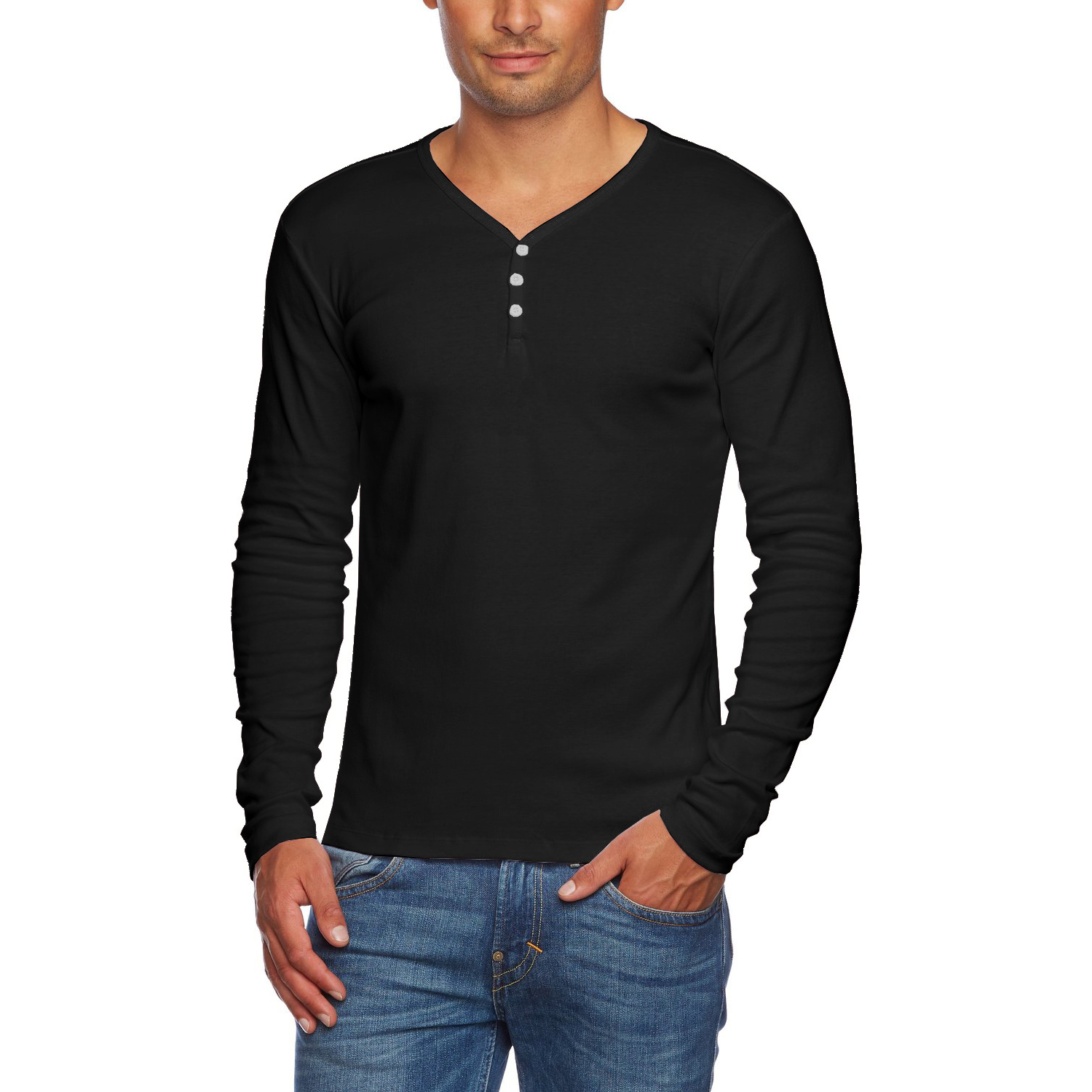 Alta men 39 s slim fit v neck long sleeve cotton t shirt with for Men slim fit shirts