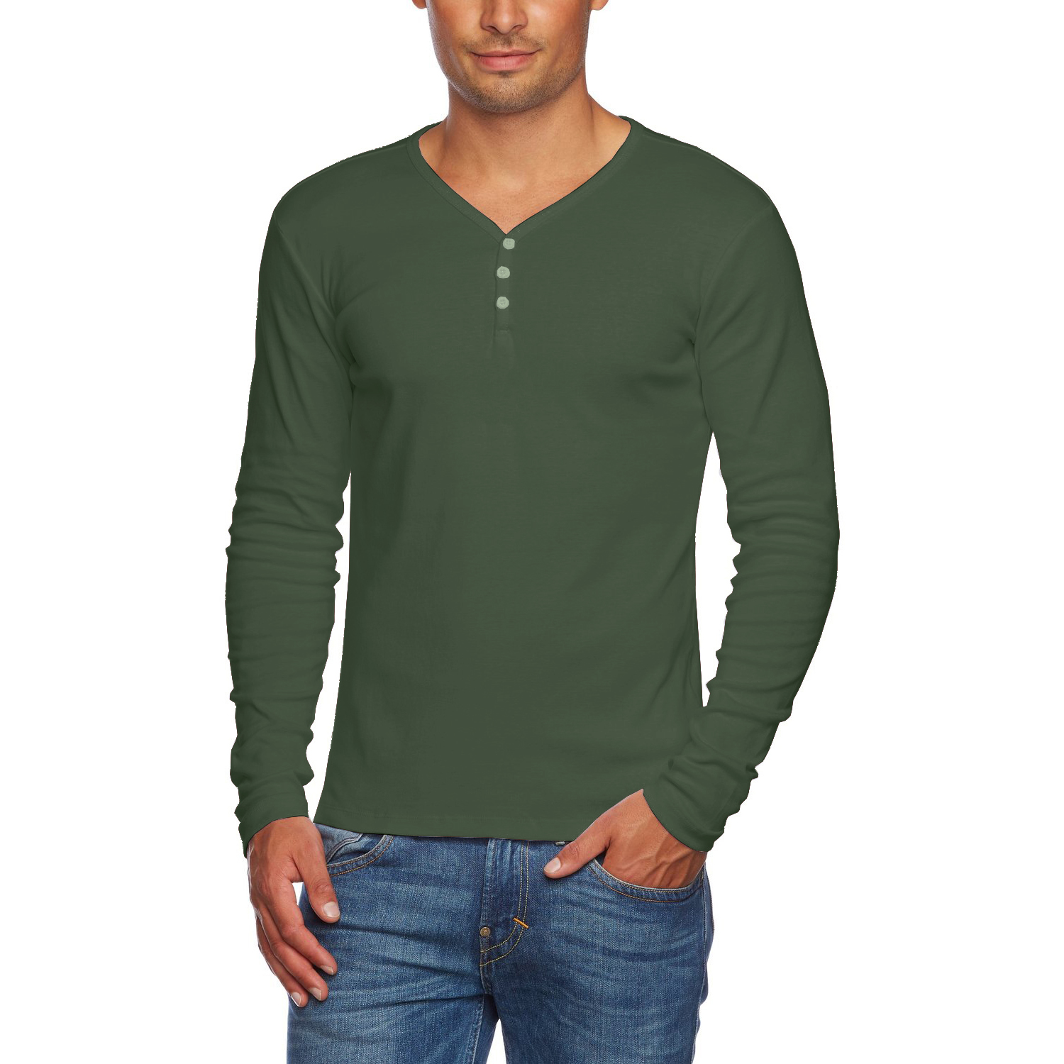 Alta Men's Slim Fit V Neck Long Sleeve Cotton T-Shirt with 3 ...