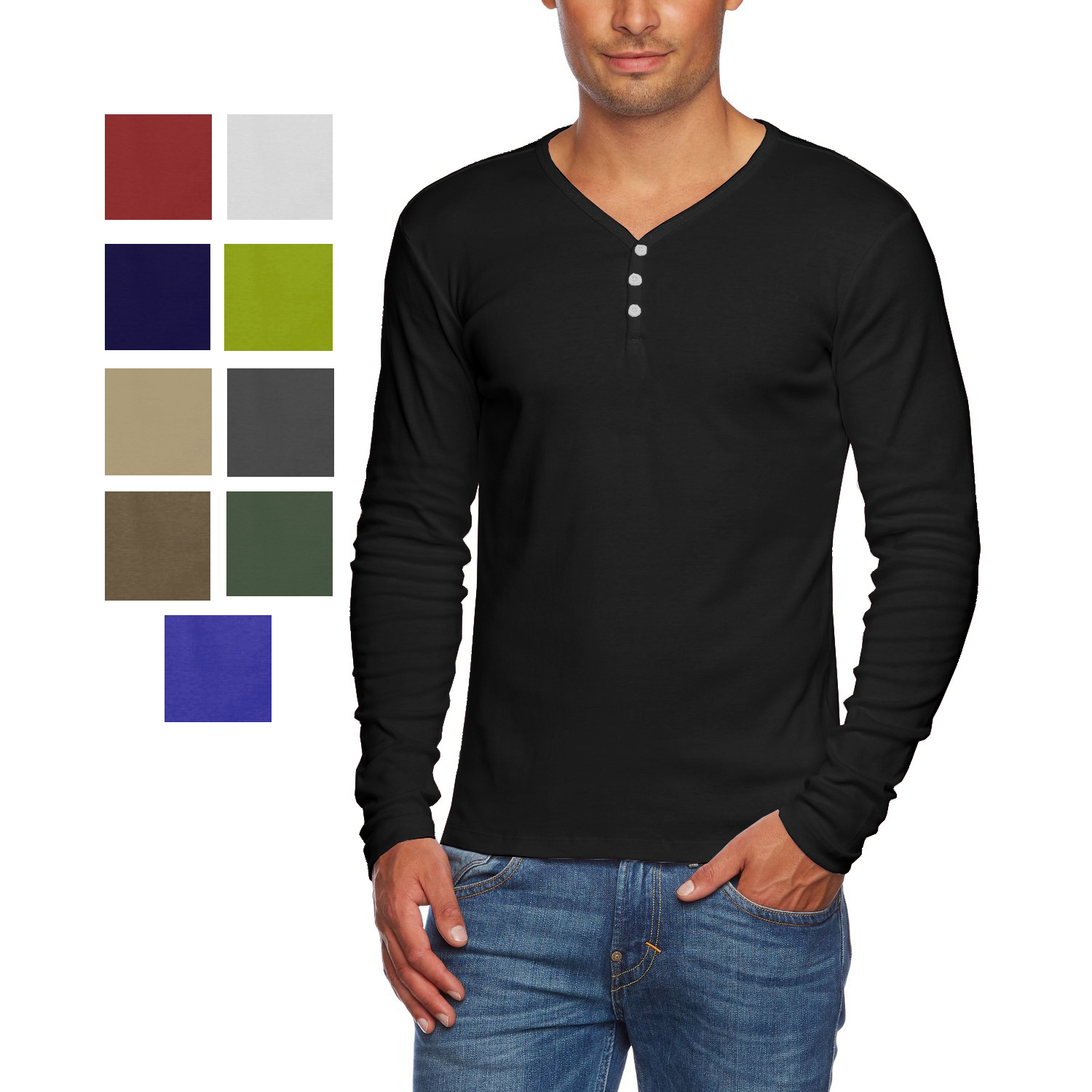 0766a328 Alta Men's Slim Fit V Neck Long Sleeve Cotton T-Shirt with 3 Button Up  Opening
