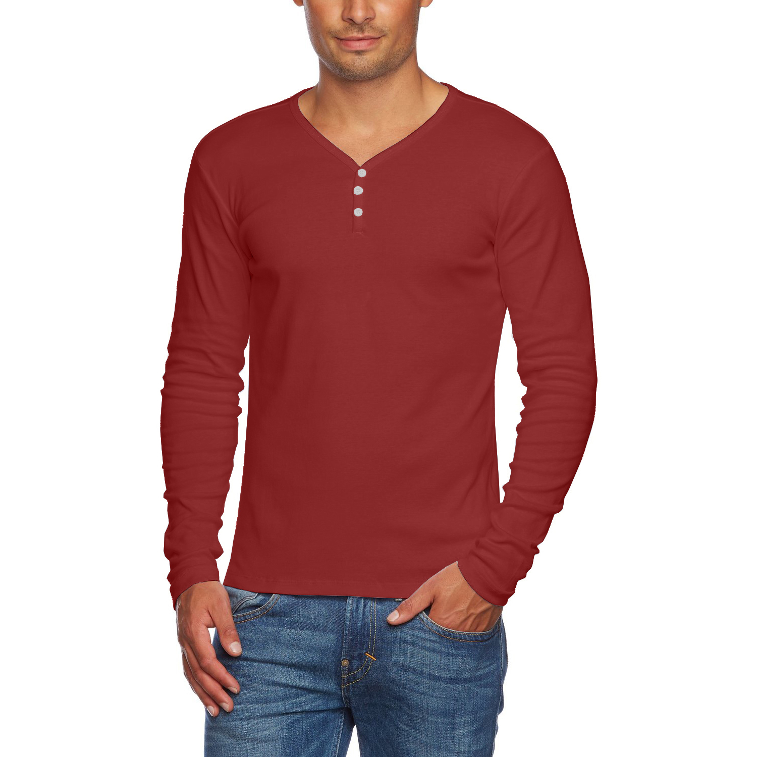 Alta men 39 s slim fit v neck long sleeve cotton t shirt with for Fitted button up shirts mens
