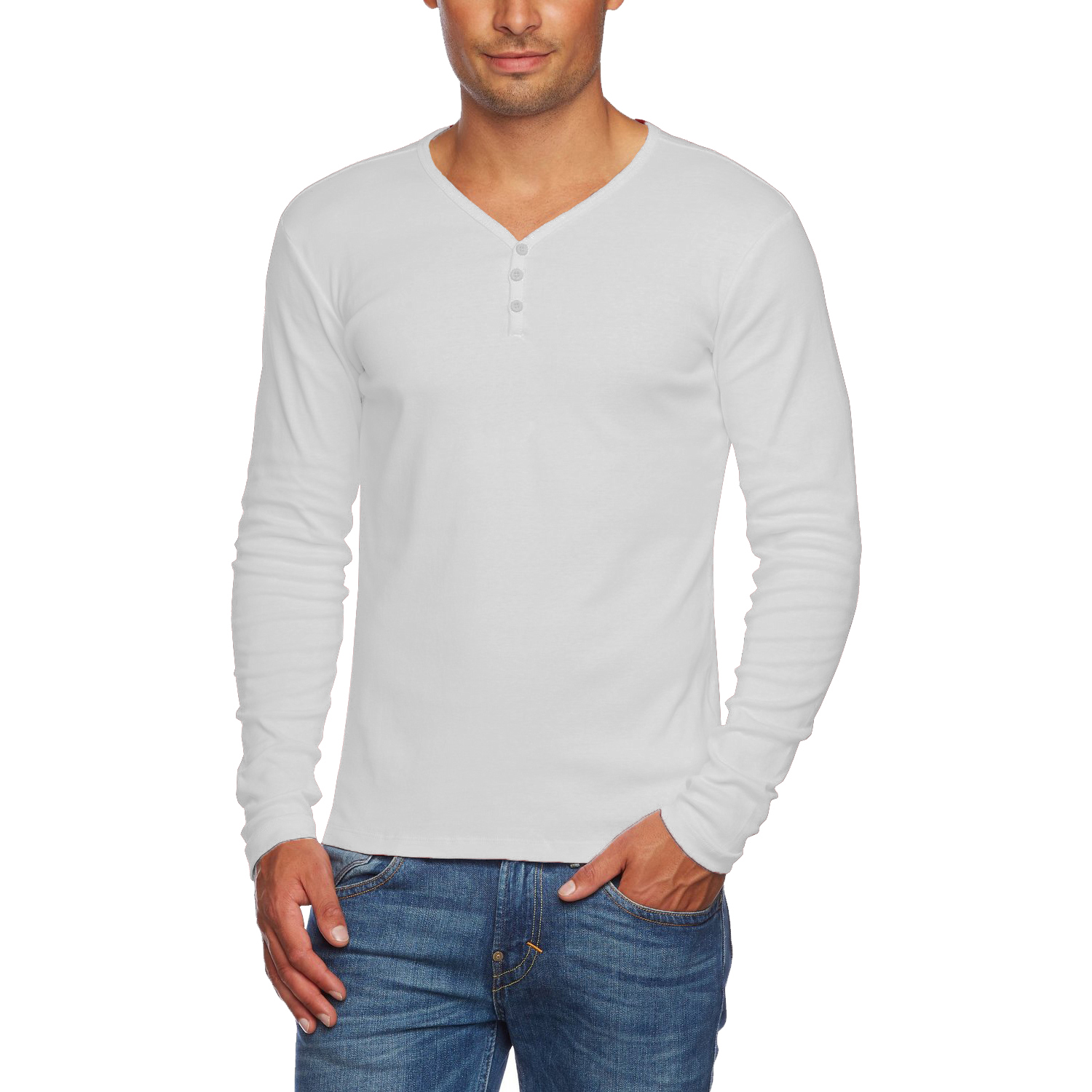 Alta men 39 s slim fit v neck long sleeve cotton t shirt with for Long sleeve fitted tee shirt