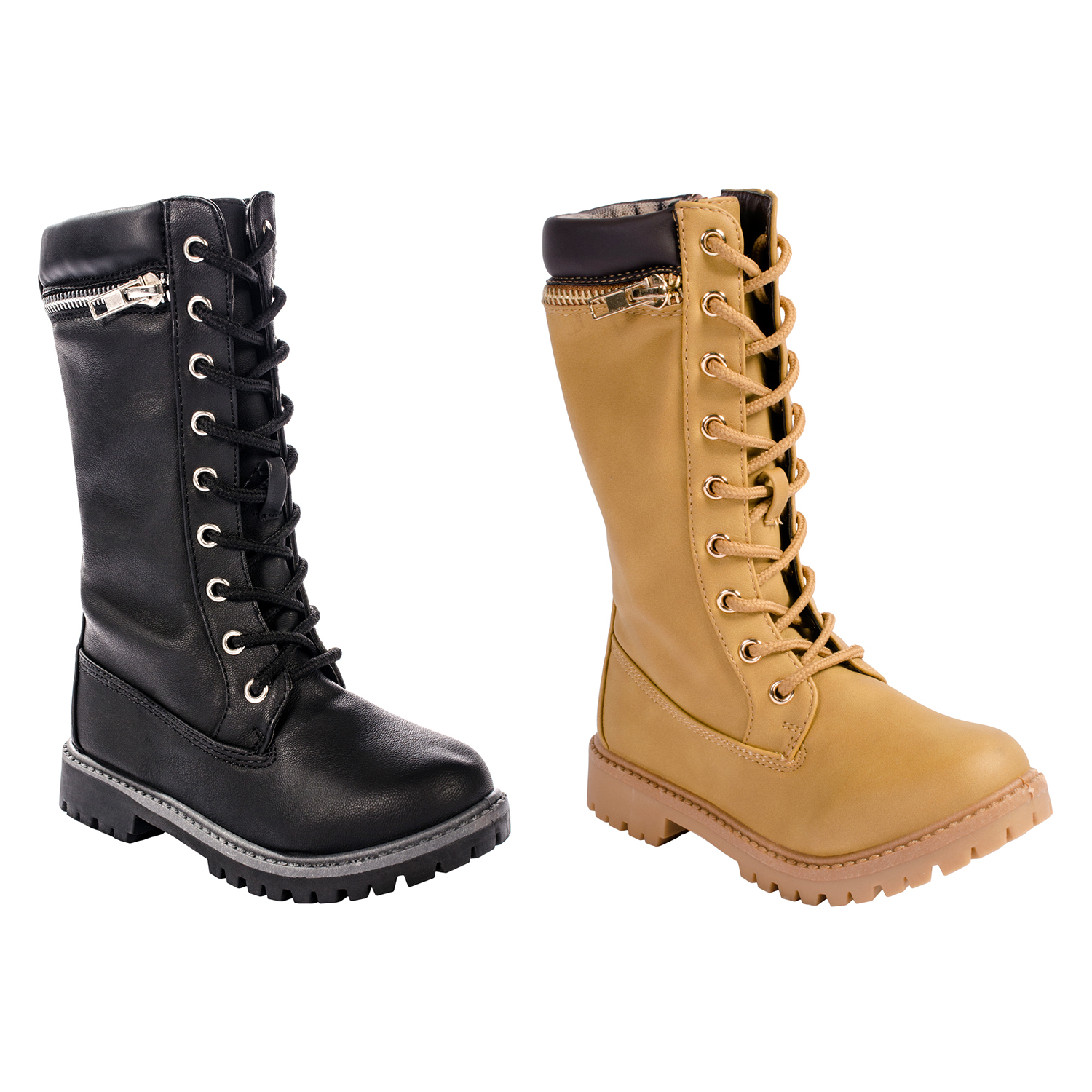 b4d85dd87b0 Details about Anna Dallas 17K Girls Lug Sole Lace Up Zip Ankle High Hiking  Boots w/ Top Zipper