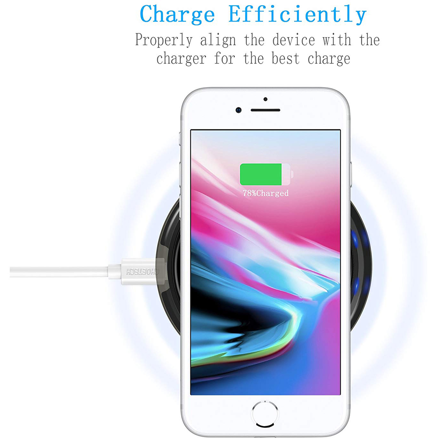 CHOETECH-Wireless-Cell-Phone-Charging-Pad-for-Qi-Enabled-Devices thumbnail 6