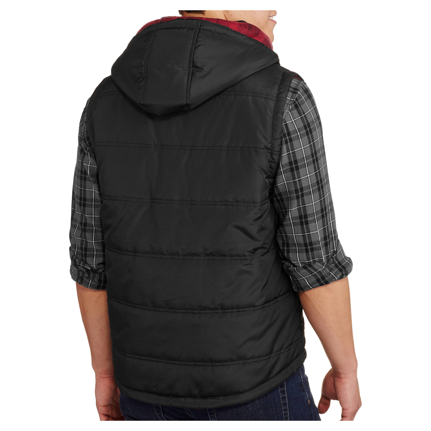 thumbnail 4 - Alta-Men-039-s-Reversible-Puffer-Zip-Up-Vest-with-Removable-Hoodie-Plaid-Jacket