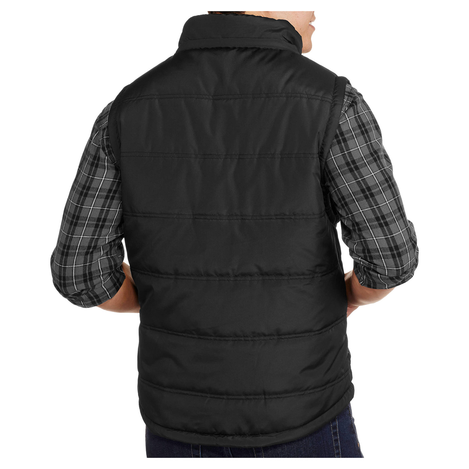 thumbnail 3 - Alta-Men-039-s-Reversible-Puffer-Zip-Up-Vest-with-Removable-Hoodie-Plaid-Jacket
