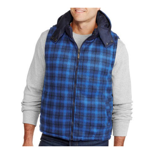 thumbnail 6 - Alta-Men-039-s-Reversible-Puffer-Zip-Up-Vest-with-Removable-Hoodie-Plaid-Jacket