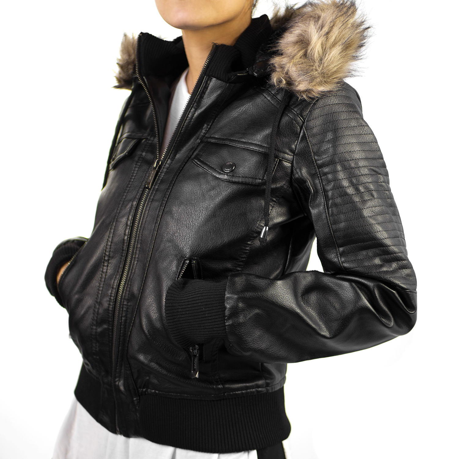 Altatac Women's Faux Leather/Faux Fur Motorcycle Jacket with Hood   eBay