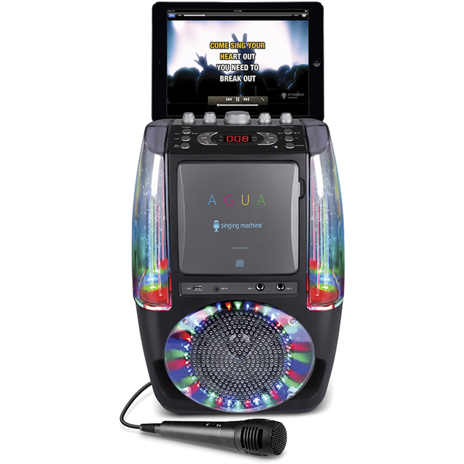 Singing-Machine-Agua-SML605-At-Home-Karaoke-System-w-LED-Disco-Lights thumbnail 3