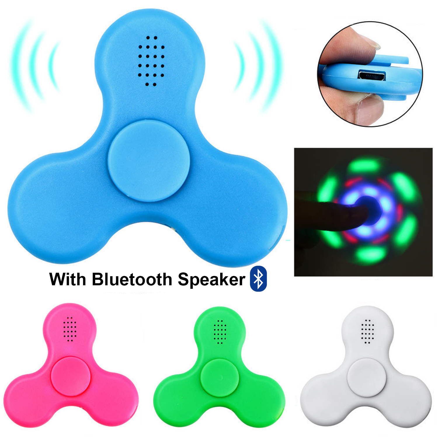 f045a09f20c6a Details about Fidget Spinner with LED Light Bluetooth Speaker Relieve  Stress Hand Spinner Toy