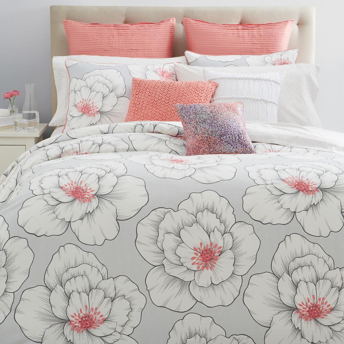 Sky Blossom King Comforter Set Coral / Grey - MSRP $315